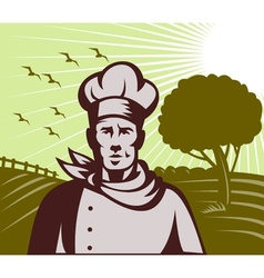 Organic Baker chef or cook with farm in background vector image vector image