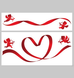 red ribbon and cupids vector image vector image