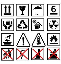 warning of packaging symbol vector image vector image