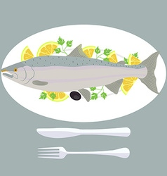 A of grill prepared fish with lemon and parsley vector image