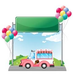 A pink ice cream bus near an empty green board vector image vector image