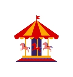 Classic carousel with horses vector