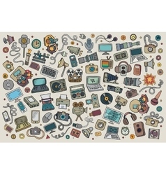Color hand drawn Doodle set equipment and vector image