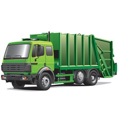 Green garbage truck vector
