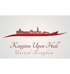 Kingston Upon Hull skyline in red vector image