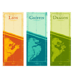 lion griffin and dragon vector image