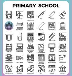 Primary school icon set vector