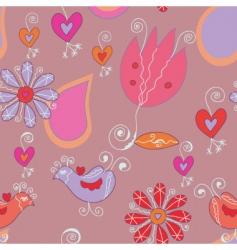 tulips birds vector image vector image