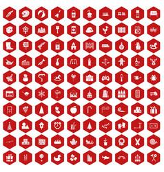 100 preschool education icons hexagon red vector