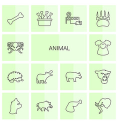 14 animal icons vector
