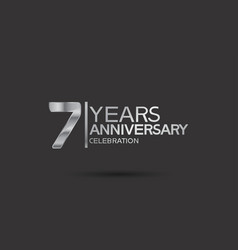 7 years anniversary logotype with silver color vector