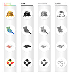A bag coins a marked card a deck playing vector