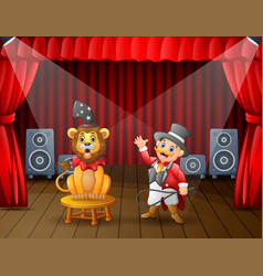 A lion circus with trainer performing on stage vector