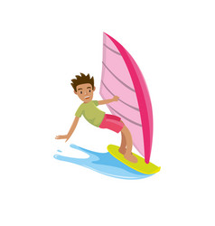 a man look happy in the surfing board when summer vector image