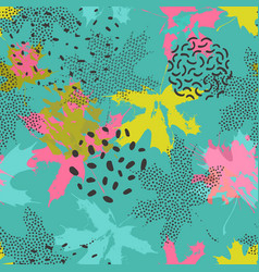 Abstract maple leaves seamless pattern in bright vector