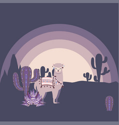 Alpaca with cacti vector