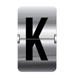 Alphabet silver flipboard letters k vector image