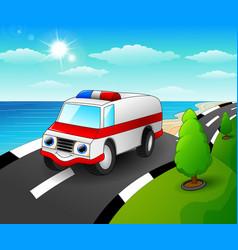 ambulance car cartoon in th vector image