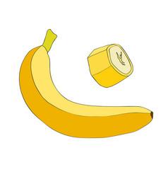 banana and a piece of banana vector image