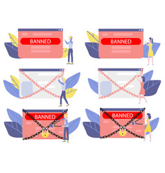 banned website and access prohibition concept set vector image