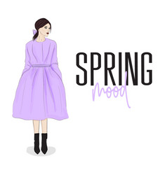 beautiful young woman in coat and hat stylish vector image