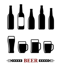 Beer bottle and mug set icon vector