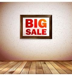 Beige wall wooden floor with big sale frame vector