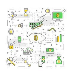 bitcoin concept modern thin line flat vector image