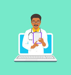 black man doctor online consultation concept vector image