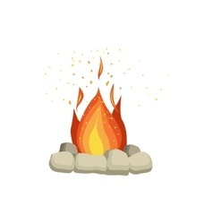 Bonfire With Rocks Surrounding vector image