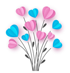 bouquet with branch and pink and blue hearts vector image