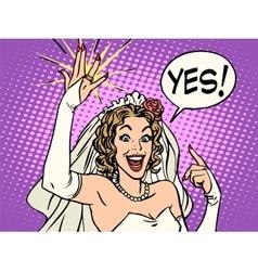 bride wedding ring happiness vector image