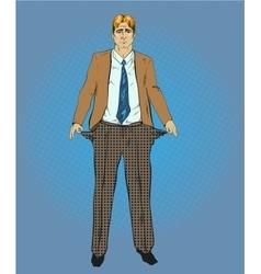 Broke businessman in retro vector