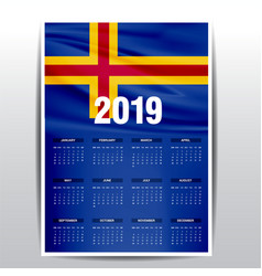 Calendar 2019 aland flag background english vector