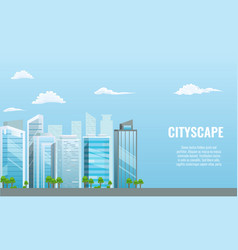 cityscape with different buildings - office vector image