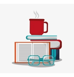 Coffee mug glasses and books design vector