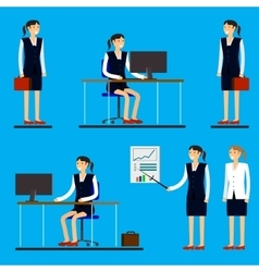 Cool flat design corporate business people line-up vector