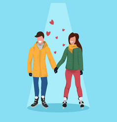 couple skating ice rink happy valentines day vector image