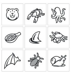 Delicatessen food icons set vector