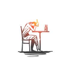 Depression alcohol problem bottle drink vector