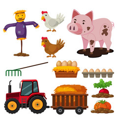 different types of farm elements vector image