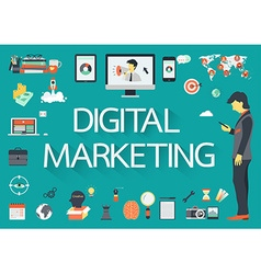 Digital marketing icon set vector image