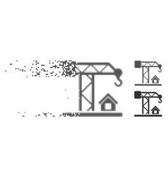 Disappearing pixel halftone construction crane vector