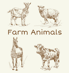 doodle animals farm animals vintage set vector image
