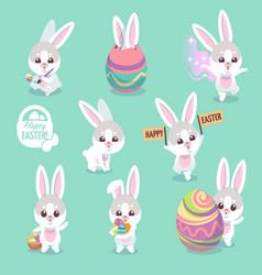 easter bunny characters cute rabbit with easter vector image