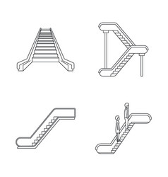 Escalator elevator icons set outline style vector