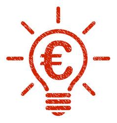 Euro idea bulb icon grunge watermark vector