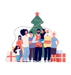family at christmas tree smiling adults and kids vector image