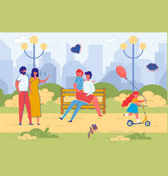 family walk with child and dating couple in park vector image