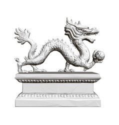 Figurine a polygonal dragon on a stand holding vector